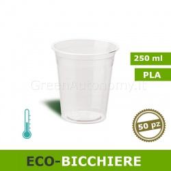 Eco-Bicchiere biodegradabile PLA trasparente 250ml 50 pezzi