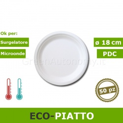 Eco-piatto piano bio 18 cm in polpa di cellulosa