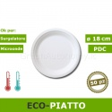Eco-piatto piano bio 18 cm in polpa di cellulosa