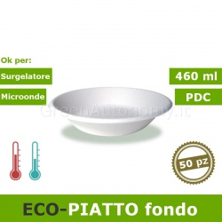 Eco-piatto fondo 460 ml (tondo) biodegradabile e compostabile