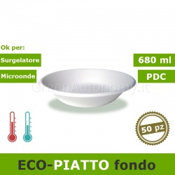 ecoPiatto fondo 680ml tondo bio e compostabile in canna da zucchero