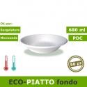 ecoPiatto fondo 680ml tondo, biodegradabile e compostabile