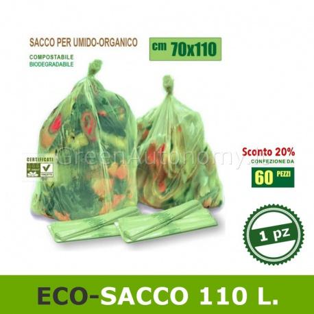 110 litri. Sacchetto biodegradabile e compostabile per feste e sagre