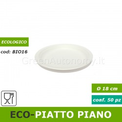 Eco-piatto piano biodegradabile da 18cm in polpa di cellulosa 50 pezzi