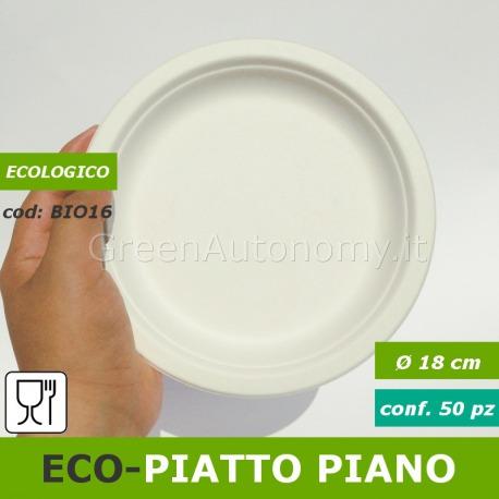 8fdf5d05019d Eco-piatto piano bio 18cm in polpa di cellulosa per cibi caldi, freddi