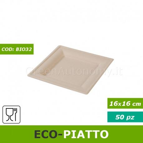 Eco-piatto quadrato elegante 16x16 compostabile