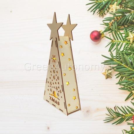 Eco-regalo albero di Natale in legno con luce