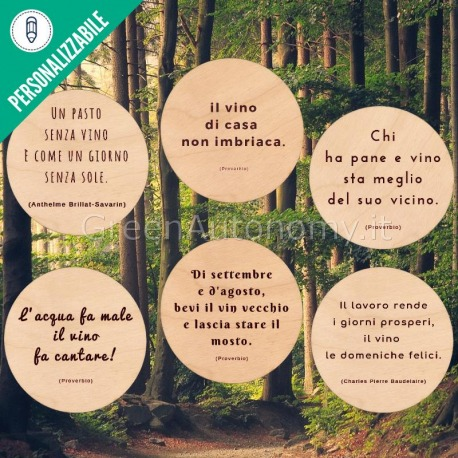 Eco-sottobottiglia di legno personalizzato con frase