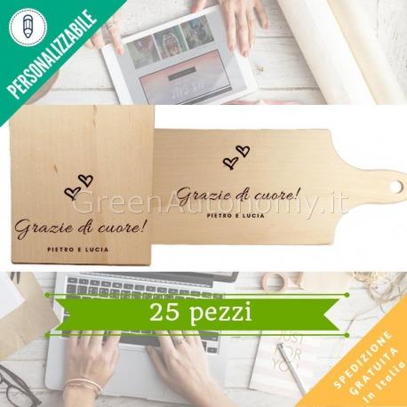 Kit tagliere di legno per bomboniera da personalizzare