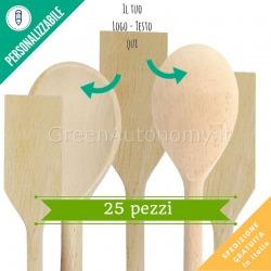 Kit 25 utensili da cucina in legno da personalizzare