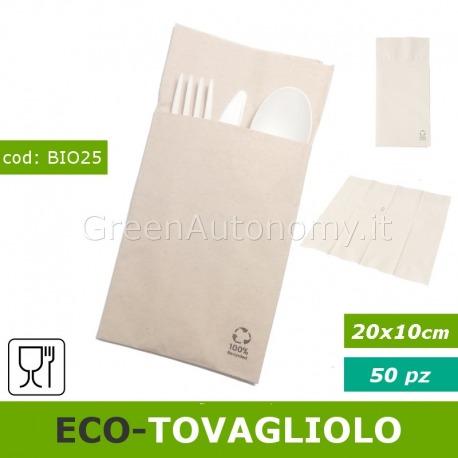 Eco-tovagliolo biodegradabile con tasca portaposate per feste e sagre