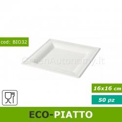 Piatto quadrato piano 16x16cm elegante ed ecologico