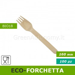 Eco-forchetta di legno biodegradabile e compostabile