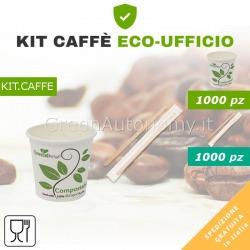 Kit caffè per eco-ufficio bicchieri e palette biodegradabili compostabili