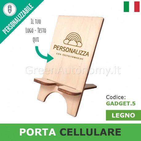 Porta cellulare in legno personalizzabile per idea regalo gadget