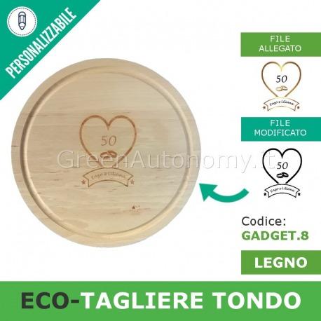 Gadget Eco Tagliere Di Legno Tondo Personalizzato Con Incisione Laser