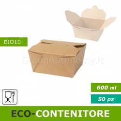 Eco-contenitore 600ml per asporto, take away, cibo a domicilio