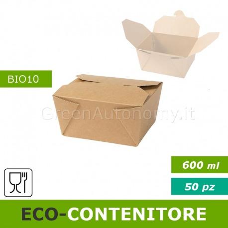 Eco-contenitore 600ml per asporto, take away, cibo a domicilio