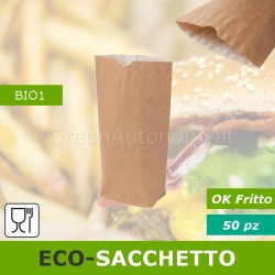 Eco-sacchetto con carta per fritto da asporto, food delivery