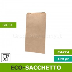 Eco-sacchetto carta per sfusi, asporto, food delivery
