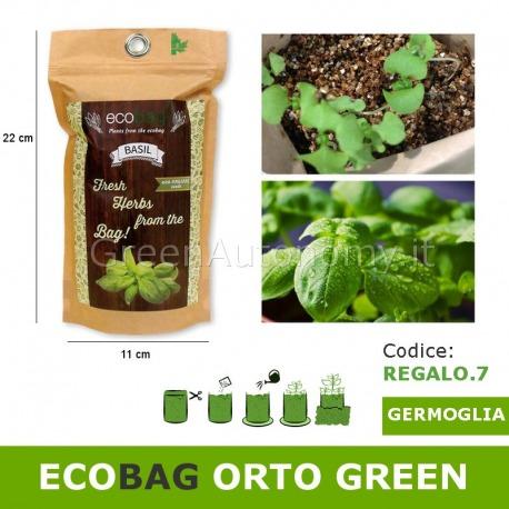 Ecobag idea regalo busta ecologica con terra e semi di basilico