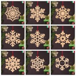 Addobbi natalizi in legno decorazione fiocco di neve