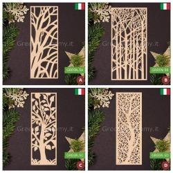 Pannelli decorativi d'arredo in legno. Fantasia alberi