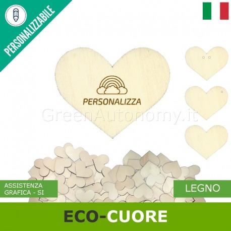 Eco-cuore di legno da personalizzare per bomboniere
