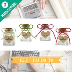 Kit bomboniera fai da te da personalizzare con barattolo vetro, cuore, spago, tappo