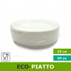 Eco-piatto piano 22 cm biodegradabile e compostabile