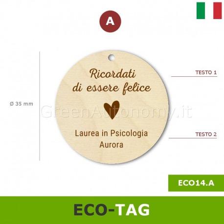 Eco-tag di legno tondo da personalizzare per bomboniere laurea