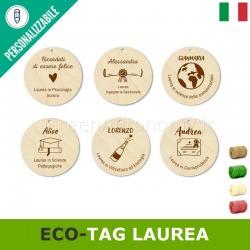 eco-tags di legno tondi da personalizzare per bomboniera laurea o confezione regalo