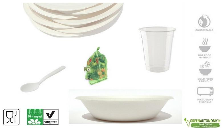 Eco-stoviglie piatti, bicchieri, posate biodegradabili per feste sagre